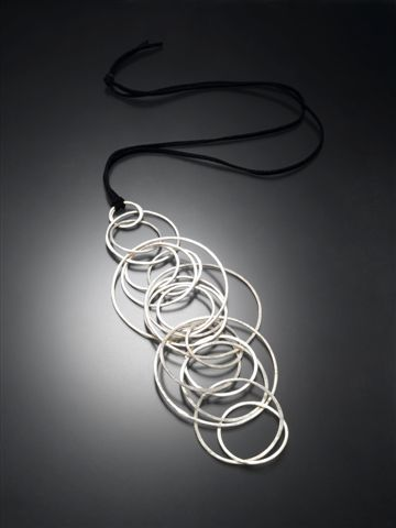 Necklace. Fine Silver. Leather.